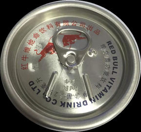 Red Buller Aluminum Can Lids With Customization Carving Logo For Energy Drink